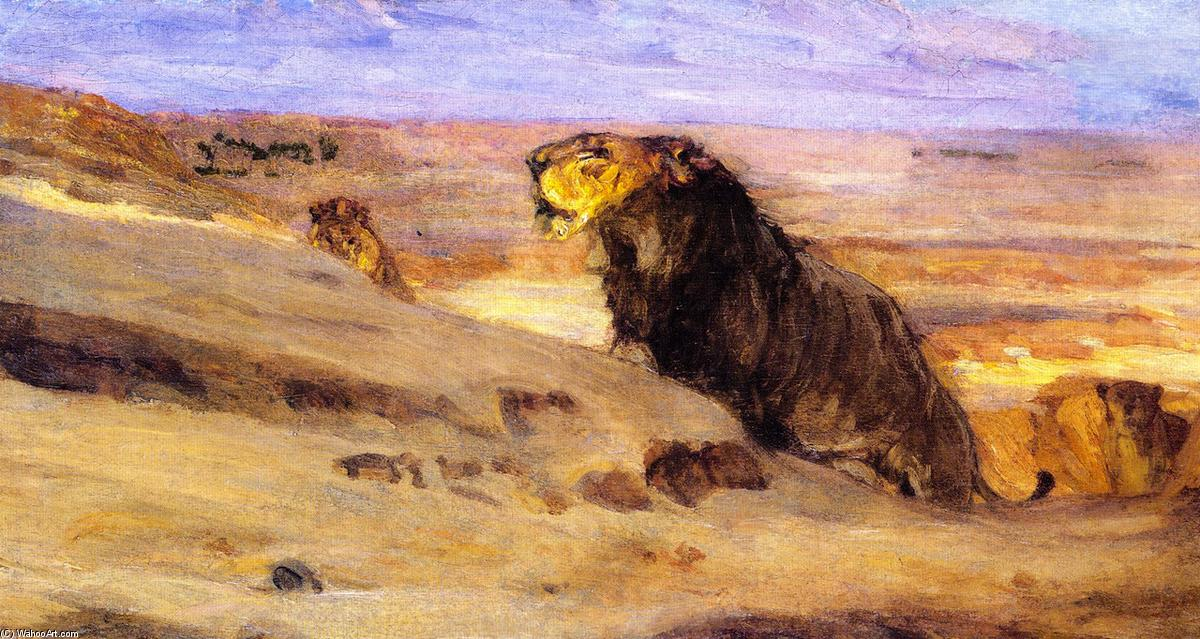 Lions in the Desert, Oil On Canvas by Henry Ossawa Tanner (1859-1937, United States)