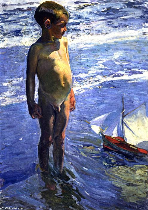 The Little Boatman, Oil On Canvas by Joaquin Sorolla Y Bastida (1863-1923, Spain)