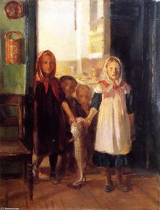 Anna Kirstine Ancher - Little Girls with a Cod