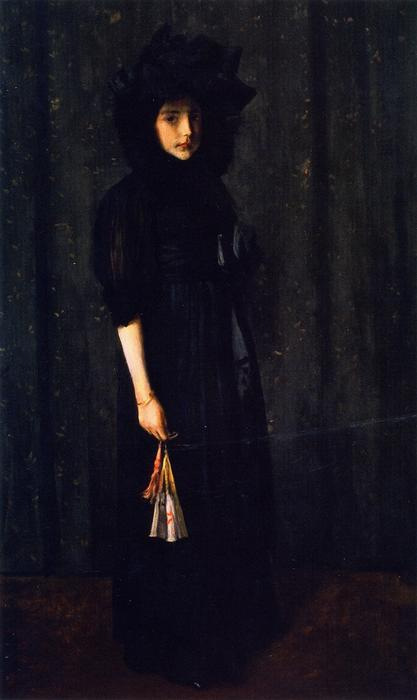 Little Miss C. (also known as Young Girl in Black,Portrait of Young Miss C.), Oil On Canvas by William Merritt Chase (1849-1916, United States)