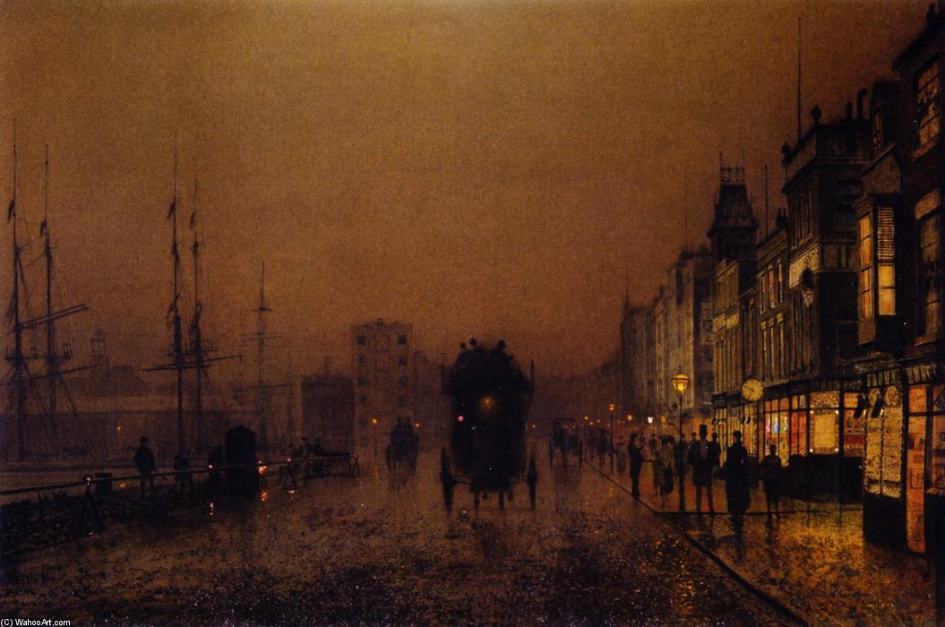 Liverpool from Wapping, Oil On Canvas by John Atkinson Grimshaw (1836-1893, United Kingdom)