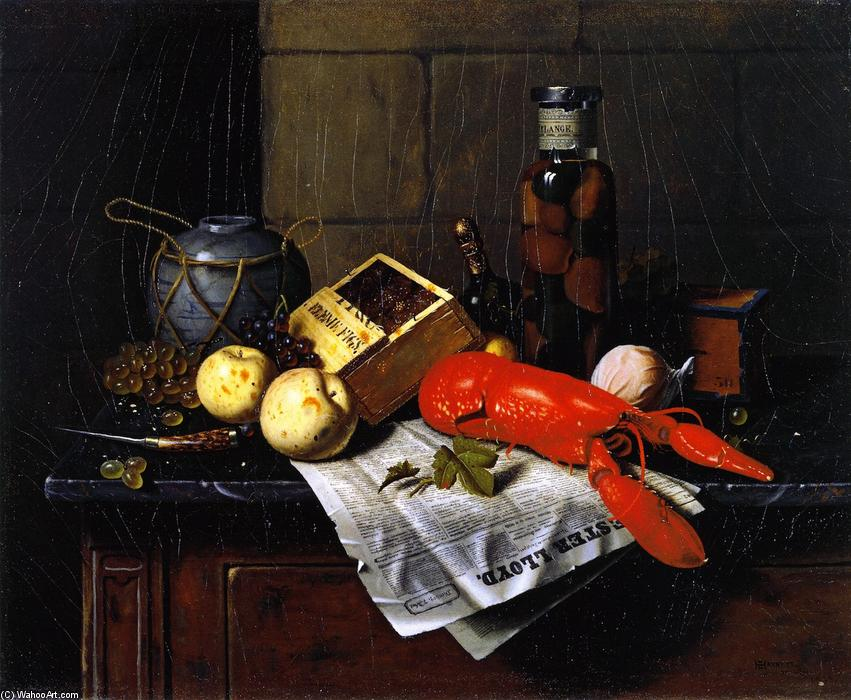 Lobster and Pester Lloyd, Oil On Canvas by William Michael Harnett (1848-1892, Ireland)