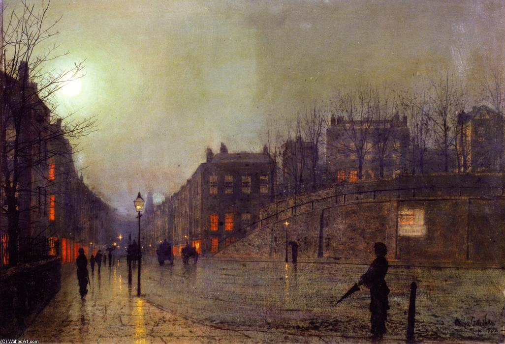 London, View of Heath Street by Night, Oil On Panel by John Atkinson Grimshaw (1836-1893, United Kingdom)