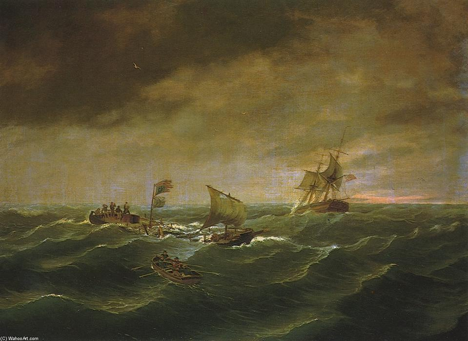 The Loss of the Schooner 'John S. Spence', Oil On Canvas by Thomas Birch (1779-1851, United Kingdom)