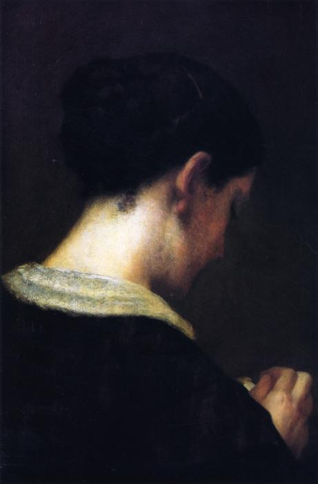 The Lost Profile - Portrait of the Artist`s Wife, 1856 by William Morris Hunt (1824-1879, United States) | Painting Copy | ArtsDot.com