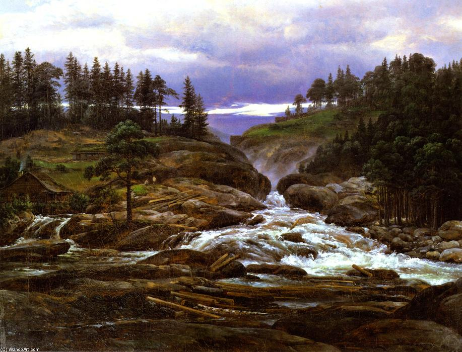 The Lower Falls of the Labrofoss, Oil On Canvas by Johan Christian Clausen Dahl (1788-1857, Norway)