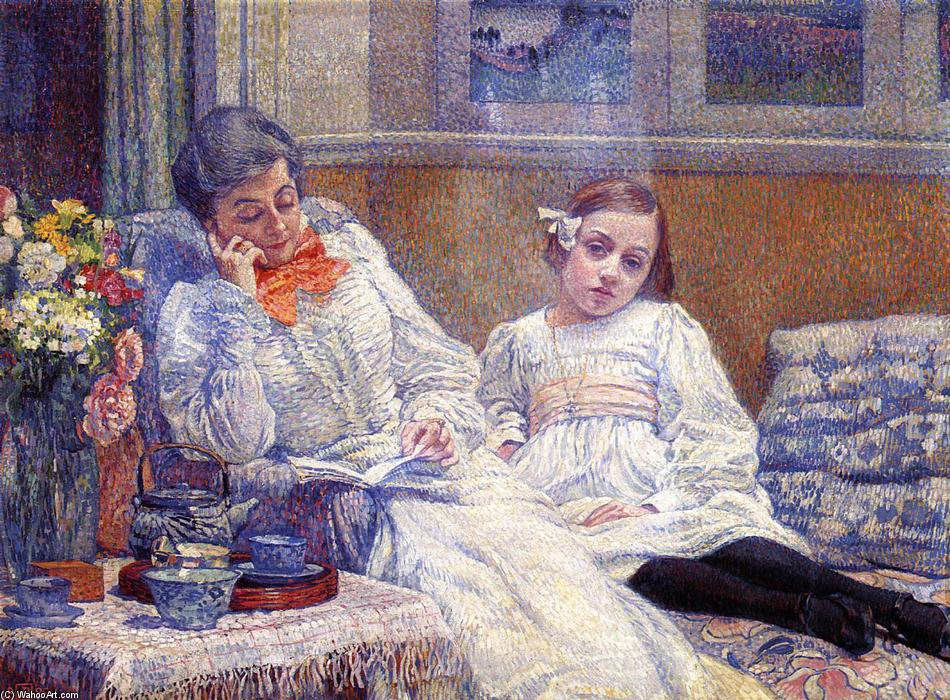 Madame Theo van Rysselberghe and Her Daughter, Oil On Canvas by Theo Van Rysselberghe (1862-1926, Belgium)