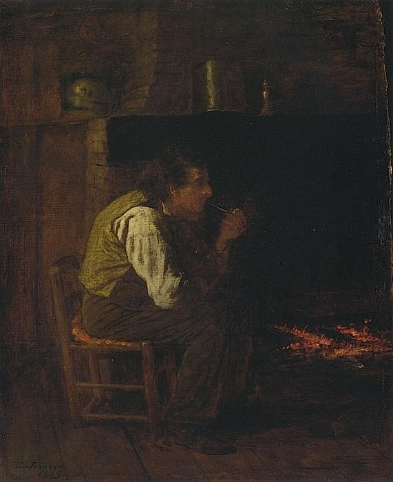 Maine Interior - Man with Pipe, Oil On Panel by Jonathan Eastman Johnson (1824-1906, United Kingdom)
