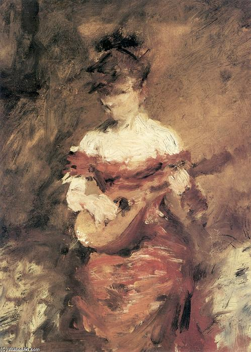 A Mandolin Player, Oil On Panel by William Merritt Chase (1849-1916, United States)