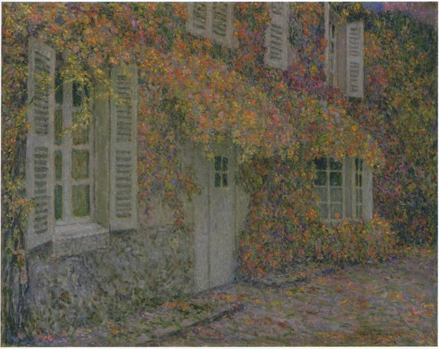 Mansion in Autumn, Oil On Panel by Henri Eugène Augustin Le Sidaner (1862-1939, Mauritius)