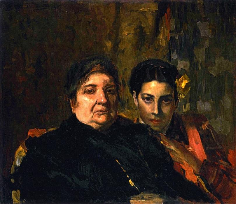 Maria and Her Grandmother Clotilde, Oil On Canvas by Joaquin Sorolla Y Bastida (1863-1923, Spain)