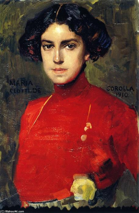Maria in a Red Blouse, Oil On Canvas by Joaquin Sorolla Y Bastida (1863-1923, Spain)