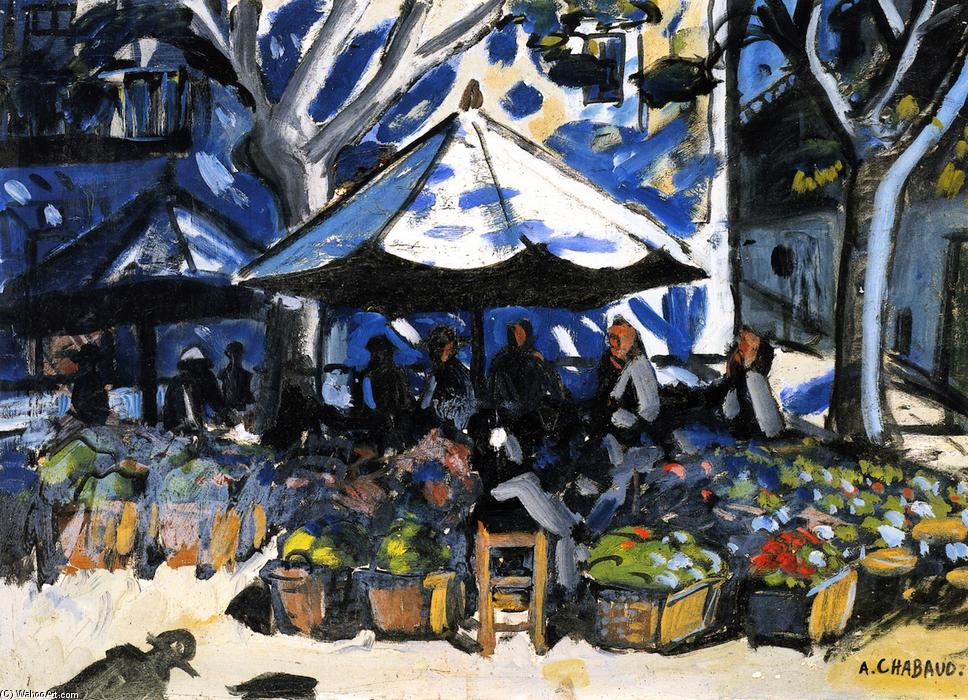 The Market at Graveson, Oil On Canvas by Auguste Chabaud (1882-1955, France)