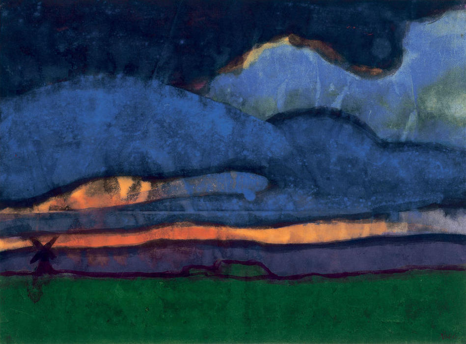 Marsh Landscape with Mill, 1920 by Emile Nolde (1867-1956, Germany)
