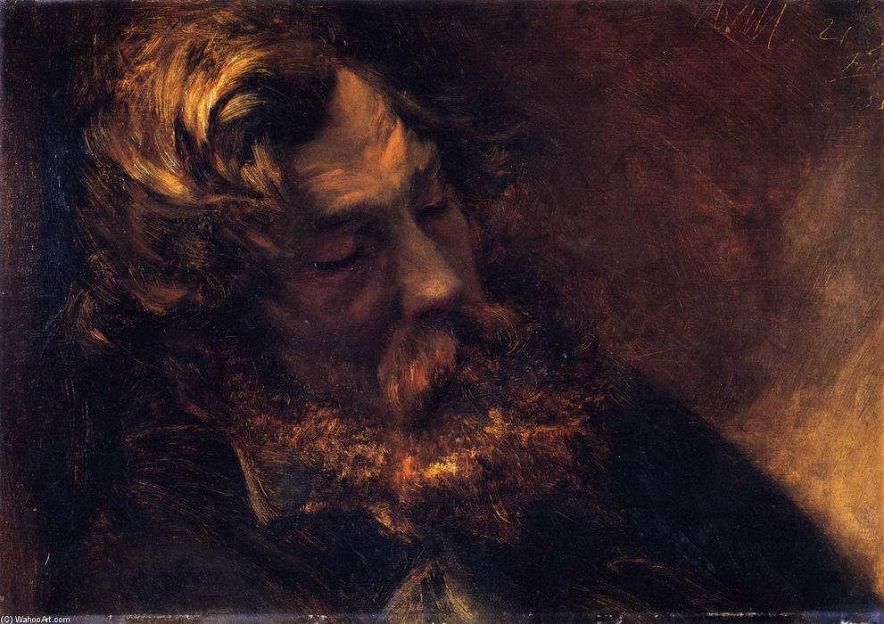 Man Asleep, Painting by Adolph Menzel (1815-1905, Poland)