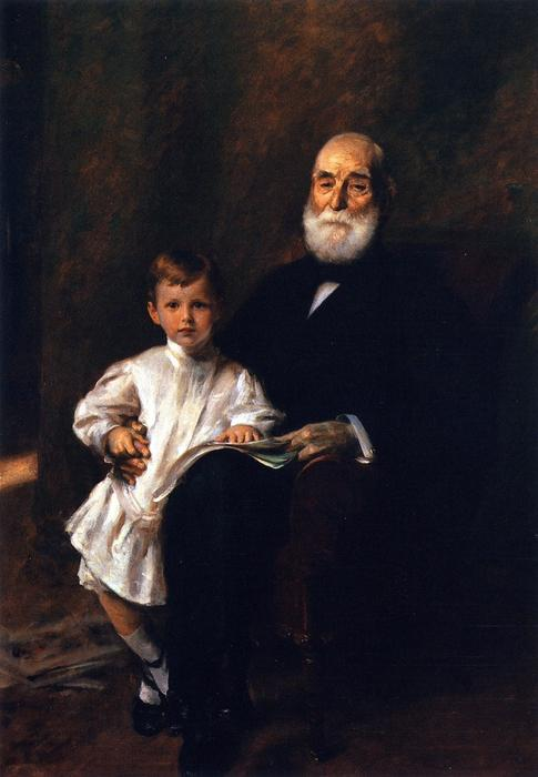 Master Otis Barton and His Grandfather, Oil On Canvas by William Merritt Chase (1849-1916, United States)