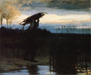 William Gilbert Gaul - Man Carrying Sticks at Dusk