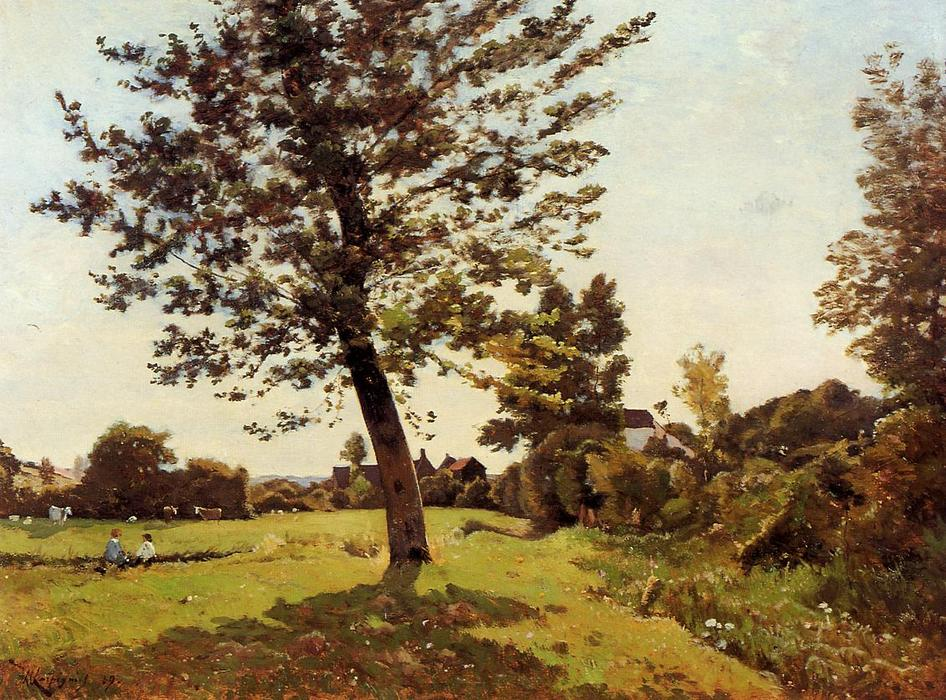 Meadow, Sunlight Effect, Oil On Canvas by Henri-Joseph Harpignies (1819-1916, France)