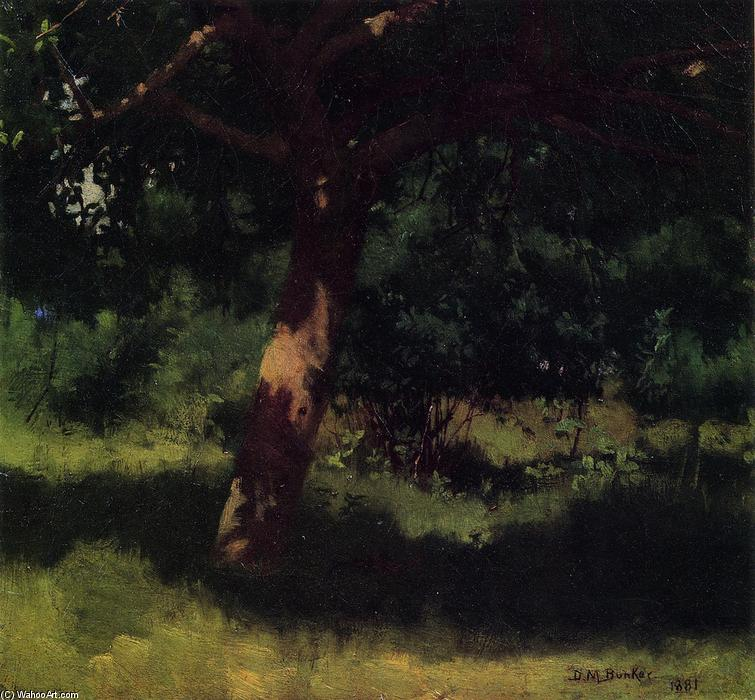 Midsummer Landscape with Apple Tree, Oil On Canvas by Dennis Miller Bunker (1861-1890, United States)