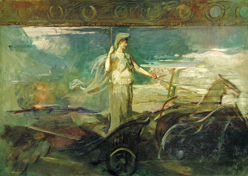 Minerva in a Chariot, Oil On Canvas by Abbott Handerson Thayer (1849-1921, United States)