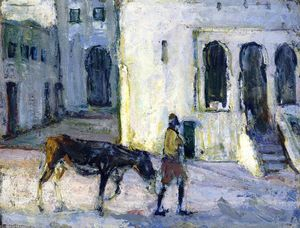 Henry Ossawa Tanner - Man Leading a Donkey in Front of the Palais de Justice, Tangier