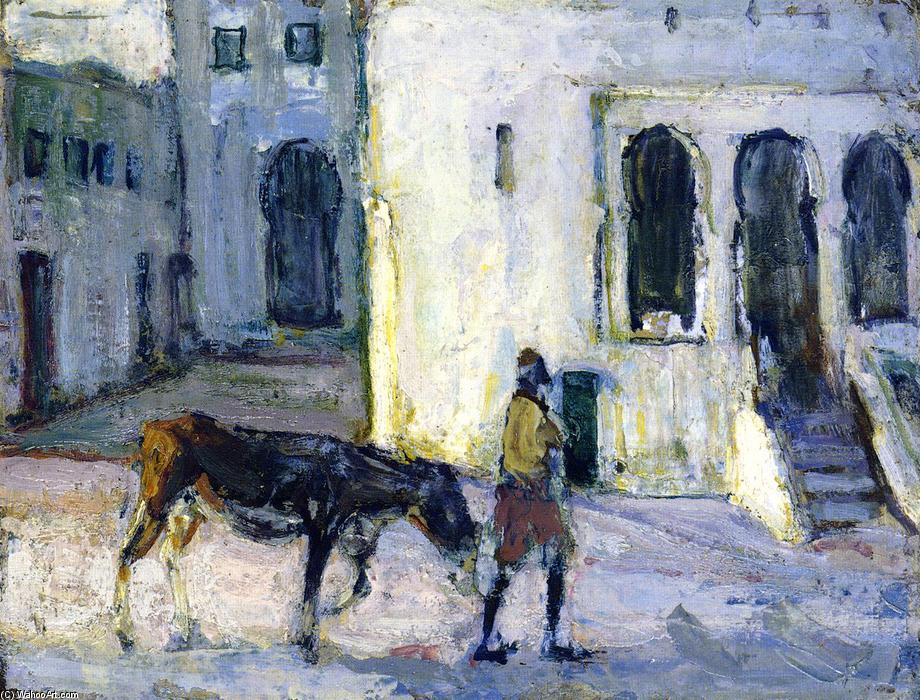 Man Leading a Donkey in Front of the Palais de Justice, Tangier, 1912 by Henry Ossawa Tanner (1859-1937, United States) | Museum Art Reproductions | ArtsDot.com