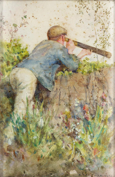 Man looking through a telescope, 1906 by Henry Scott Tuke (1858-1929, United Kingdom) | Art Reproductions Henry Scott Tuke | ArtsDot.com