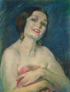 Alice Pike Barney - Model Holding Drapery
