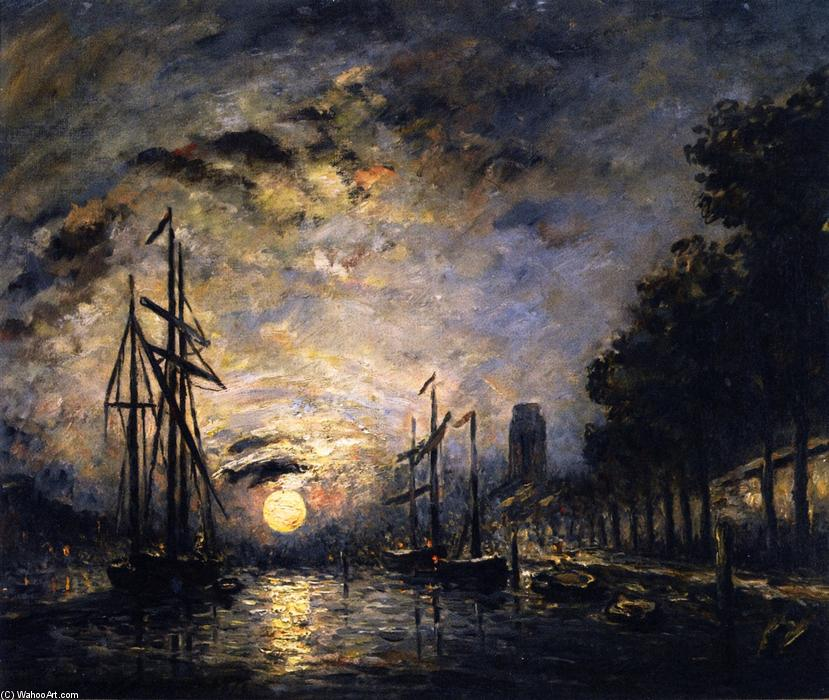 Moonlight over a Canal, Dordrecht, Oil On Canvas by Johan Barthold Jongkind (1819-1891, Netherlands)