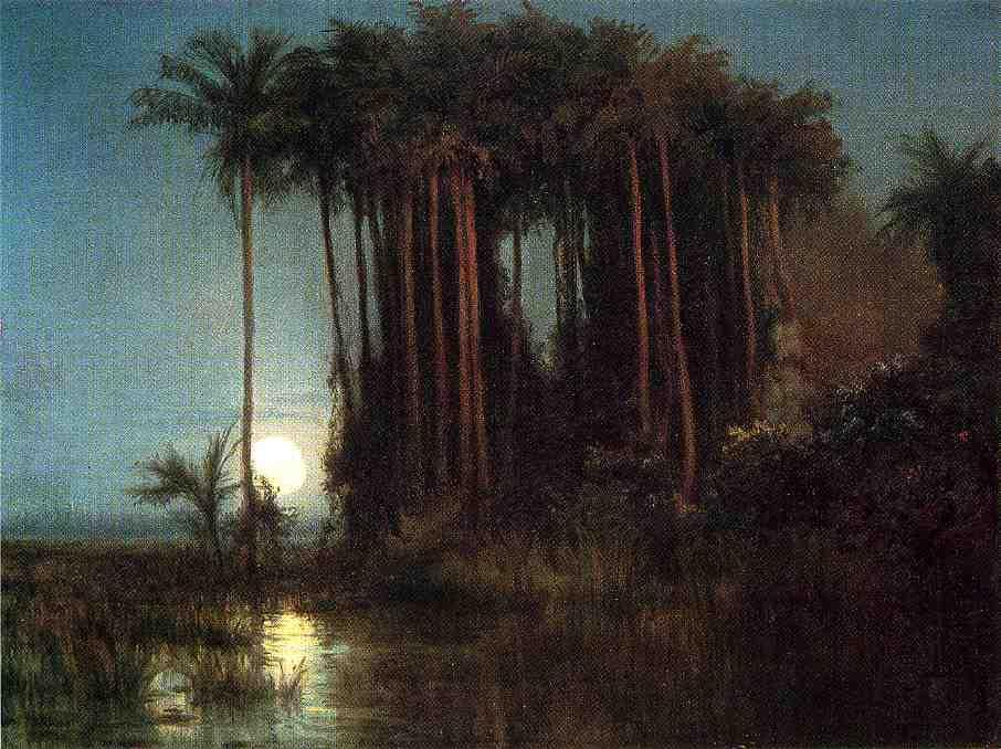 Moonlight over a Marsh in Ecuador, 1869 by Louis Remy Mignot (1831-1870, United States) | Art Reproduction | ArtsDot.com