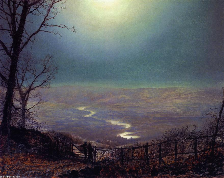 Moonlight, Wharfedale, Painting by John Atkinson Grimshaw (1836-1893, United Kingdom)