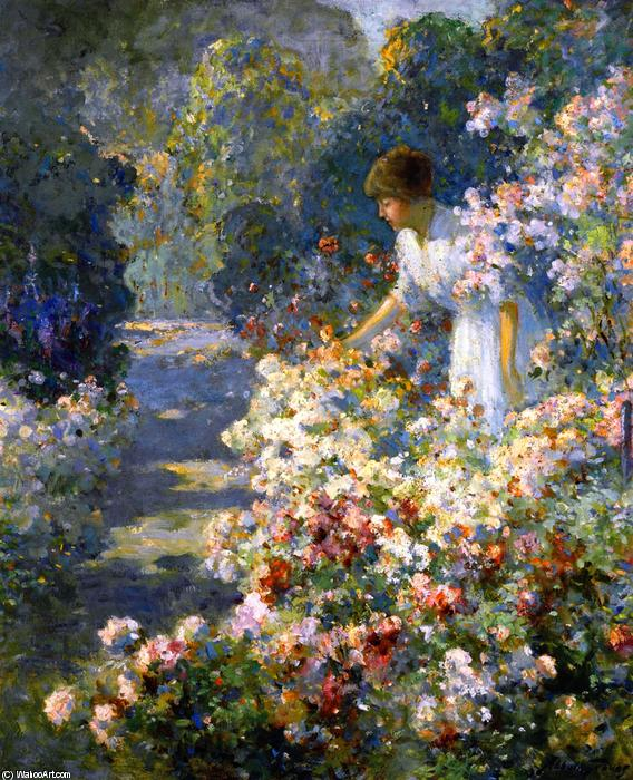 Morning in the Garden, Oil On Canvas by Abbott Fuller Graves (1859-1936, United States)
