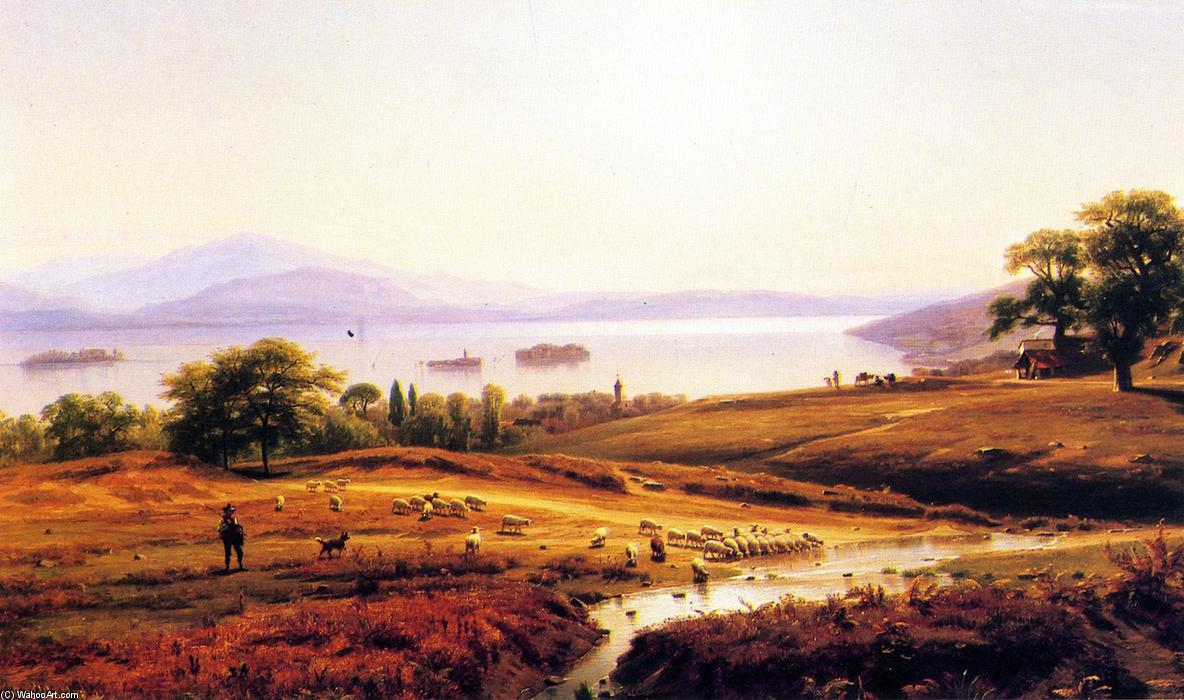 Morning on Lago Maggiore, 1860 by Thomas Worthington Whittredge (1820-1910, United States) | Reproductions Thomas Worthington Whittredge | ArtsDot.com