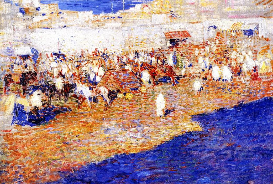 Moroccan Market (also known as Morocco [The Great Souq]), Oil On Canvas by Theo Van Rysselberghe (1862-1926, Belgium)