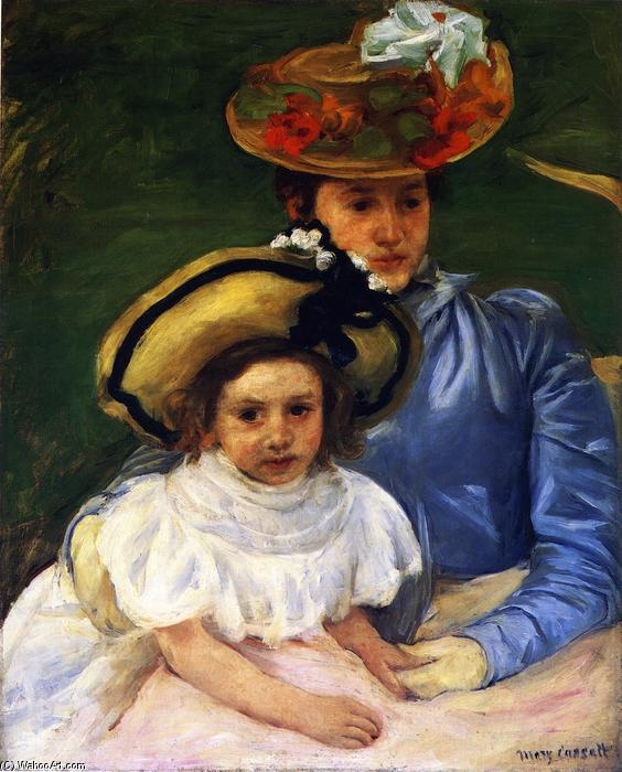 Mother and Daughter, Both Wearing Large Hats, 1900 by Mary Stevenson Cassatt (1843-1926, United States) | Art Reproductions Mary Stevenson Cassatt | ArtsDot.com