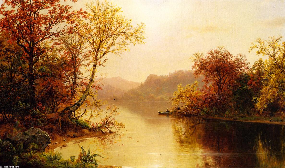 Mountain Lake in Autumn, Oil On Panel by Louis Remy Mignot (1831-1870, United States)