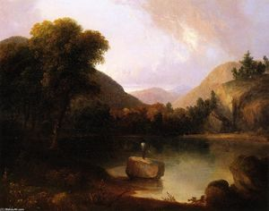 Thomas Doughty - Mountain Lake with Man Fi..