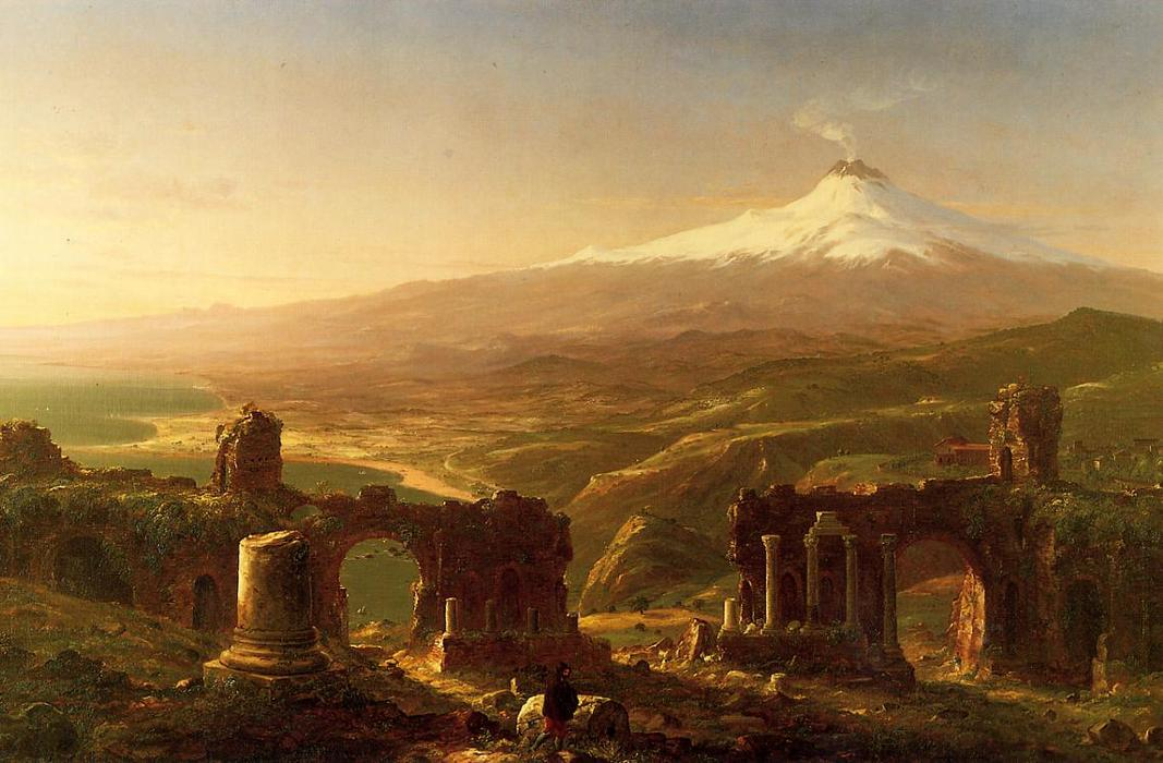 Mount Etna from Taormina, Oil On Canvas by Thomas Cole (1801-1848, United Kingdom)