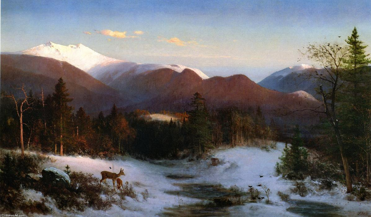 Mount Lafayette in Winter, Oil On Canvas by Thomas Hill (1829-1908, United Kingdom)