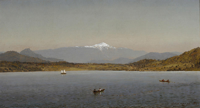 Mount Washington from Lake Sebago, Oil On Canvas by Jasper Francis Cropsey (1823-1900, United States)