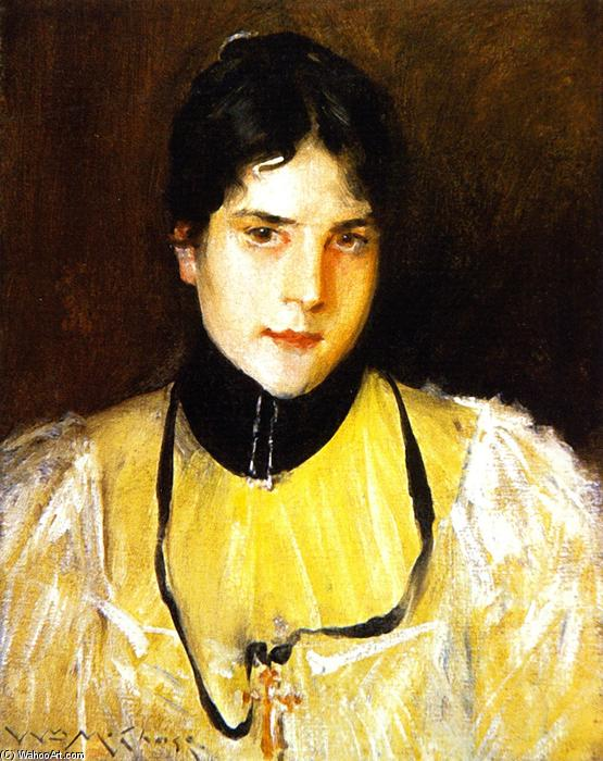 Mrs Chase (also known as The Yellow Blouse), Oil On Panel by William Merritt Chase (1849-1916, United States)