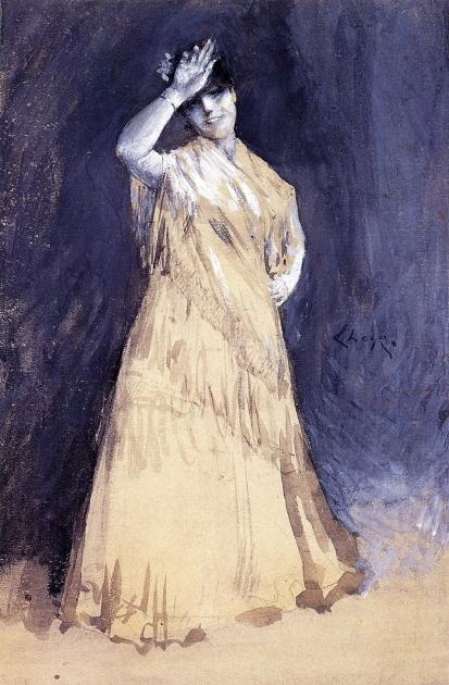 Mrs. Chase as the Señorita, Watercolour by William Merritt Chase (1849-1916, United States)