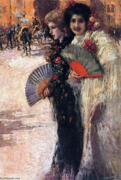 Mujeres a los toros, Oil On Canvas by Cecilio Pla Y Gallardo (1860-1934, Spain)
