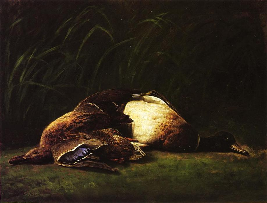 Nature Mort - Hen and Drake Mallard, Oil On Canvas by George Hetzel (1826-1899, France)