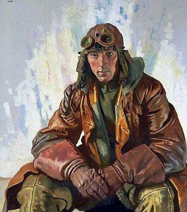 The NCO Pilot, RFC (also known as Flight Sergeant W G Bennett) by William Newenham Montague Orpen (1878-1931, Ireland)