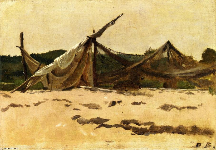 Nets and Sails Drying, Oil On Canvas by Dennis Miller Bunker (1861-1890, United States)