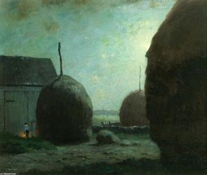 Dwight William Tryon - Newbury Haystacks in Moonlight