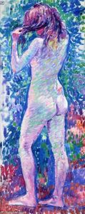 Theo Van Rysselberghe - Nude from Behind, Fixing Her Hair