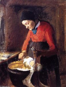 Anna Kirstine Ancher - Old Lene Plucking a Goose
