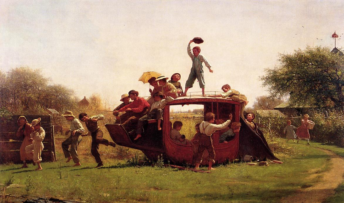 The Old Stage Coach, Oil On Canvas by Jonathan Eastman Johnson (1824-1906, United Kingdom)